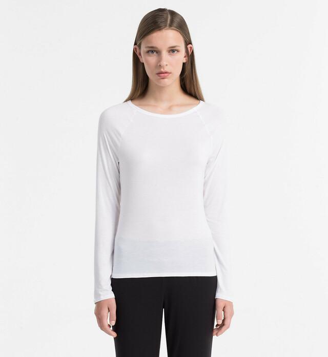 Dámské tričko Cotton Luxe QS5493E bílá T|O Calvin Klein - L - bílá
