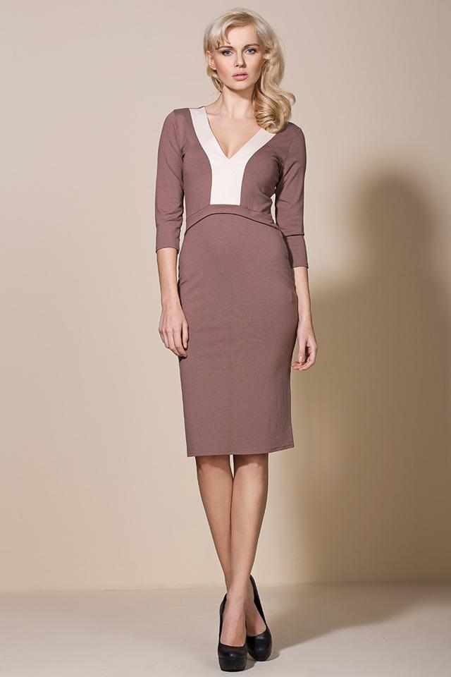 Společenské šaty model AL06 - Alore - 44 - mocca