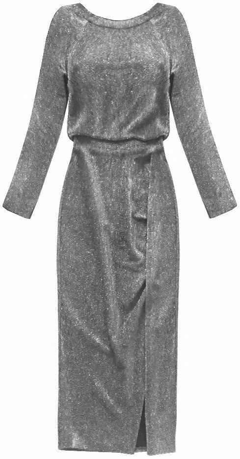 Lesklé stříbrné dámské šaty v délce midi (166ART) - ONE SIZE - stříbrná