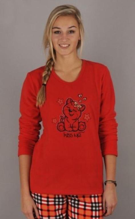 Dámské pyžamo Kočka - Vienetta - XL - červená vzor