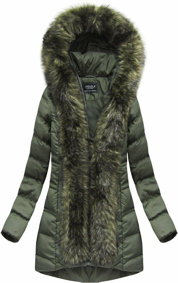 Khaki dámská prošívaná bunda (W749BIG) - 48 - khaki