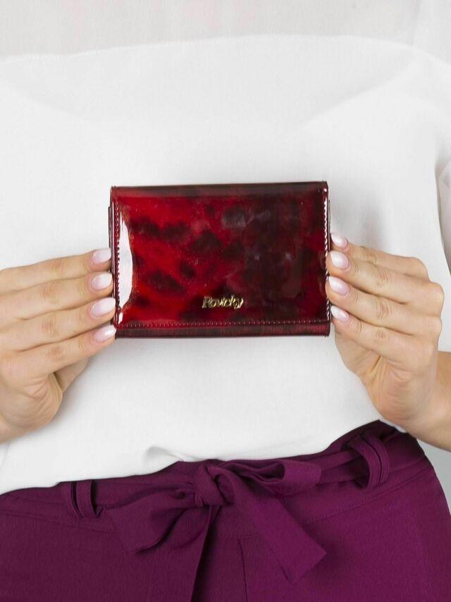 Červená malá kožená peněženka s leopardím vzorem - ONE SIZE