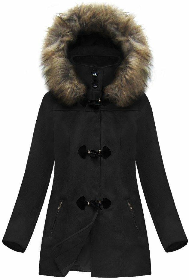 Černý dámský kabátek s kapucí (3356) - M (38) - černá