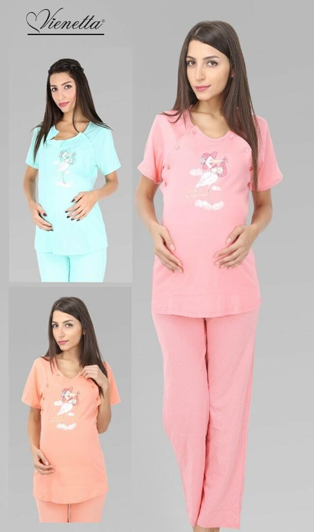 Dámské pyžamo dlouhé mateřské Čáp s kloboukem - lososová S