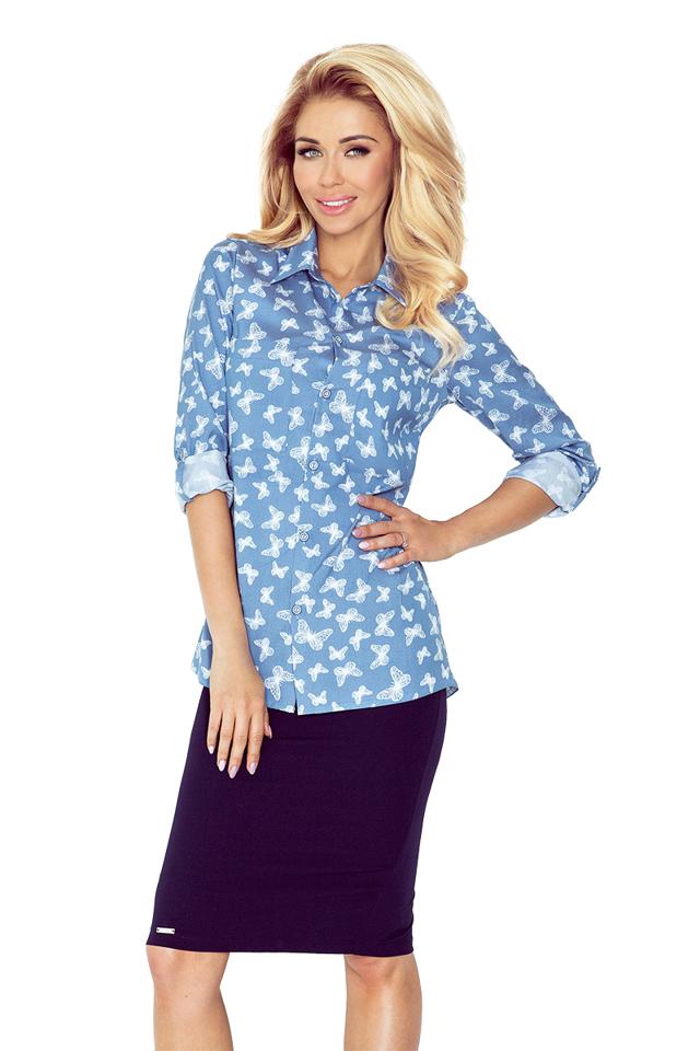 Modrá dámská košile s kapsami MM 018-6