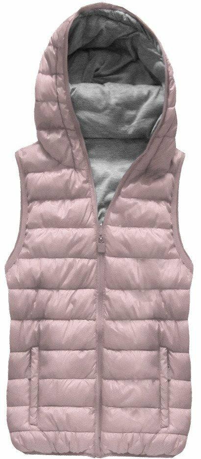 db022fdbf17c Oboustranná vesta ve starorůžové barvě s kapucí (B1002)