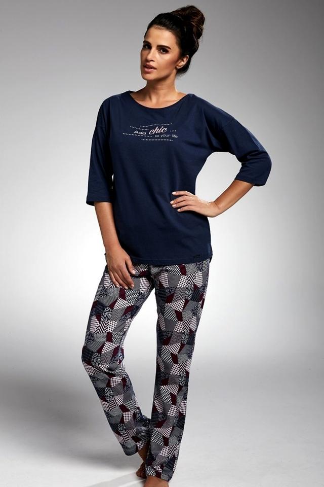 Dámské pyžamo 144/175 Chic - Cornette - L - tm.modrá/růžová