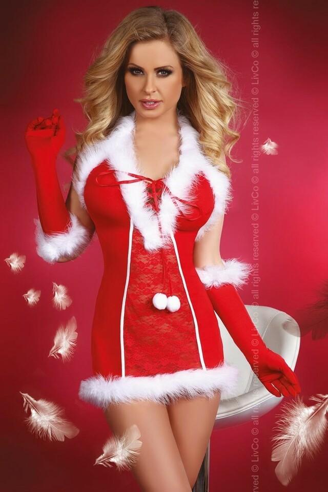 Vánoční kostým Snow Queen - LivCo Corsetti - S/M - červená