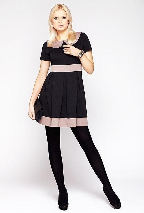 Dámské šaty M003 - La Aurora - 38 - černo-béžová