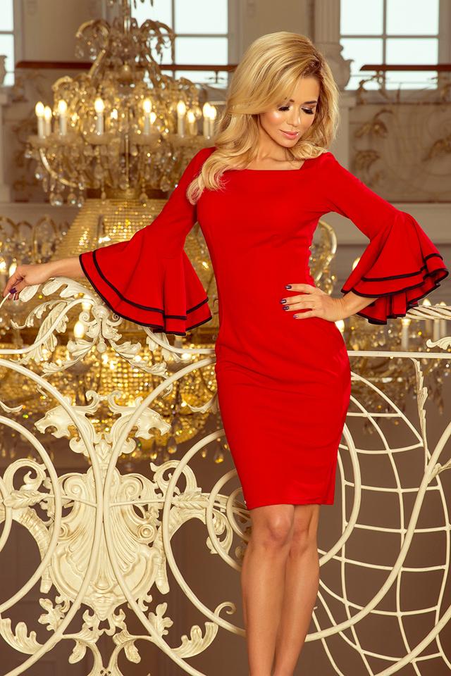 Červené dámské šaty se španělskými rukávy 188-1 CARMEN - S