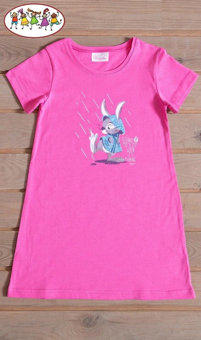Dětská noční košile s krátkým rukávem Zajíc v pláštěnce - růžová 7 - 8
