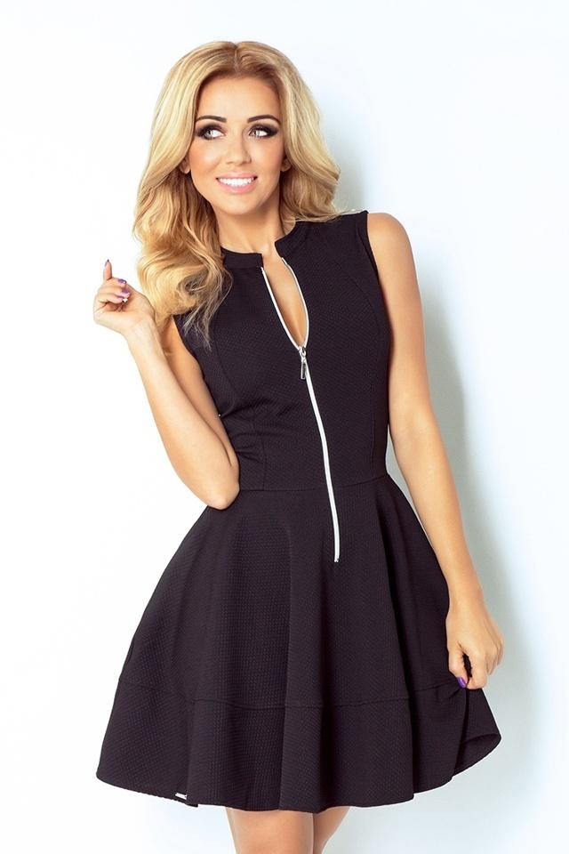 Černé šaty se zipem a kapsami 123-3 - M