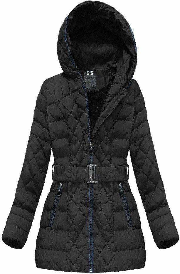 Černá dámská zimní bunda s páskem (23BS-B) - 46 - černá 2766d3585c