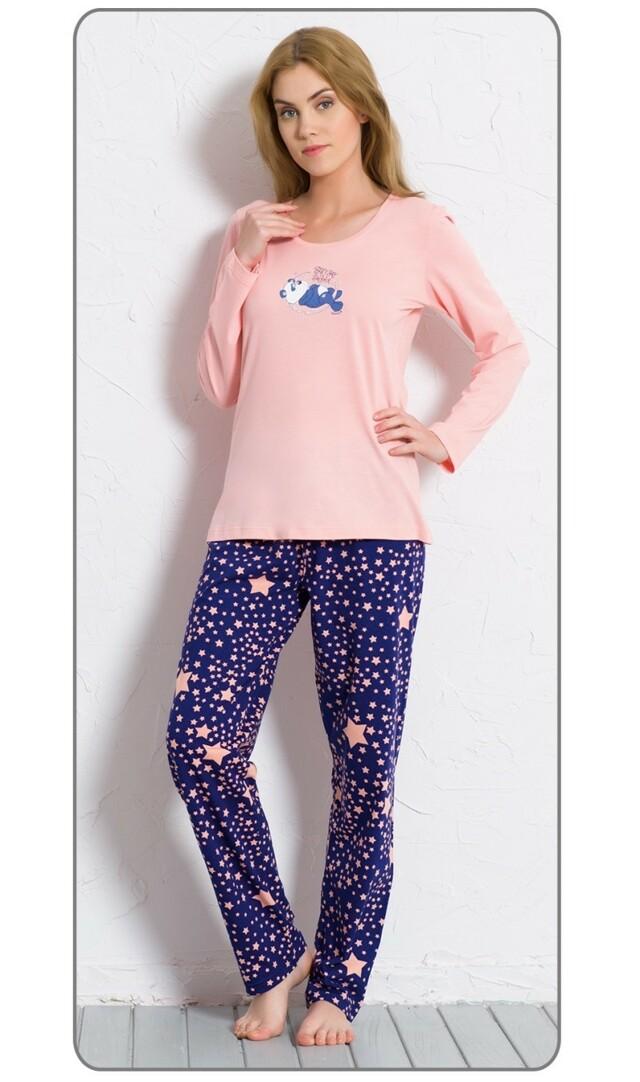 Dámské pyžamo dlouhé Panda a hvězdy - světle lososová XL
