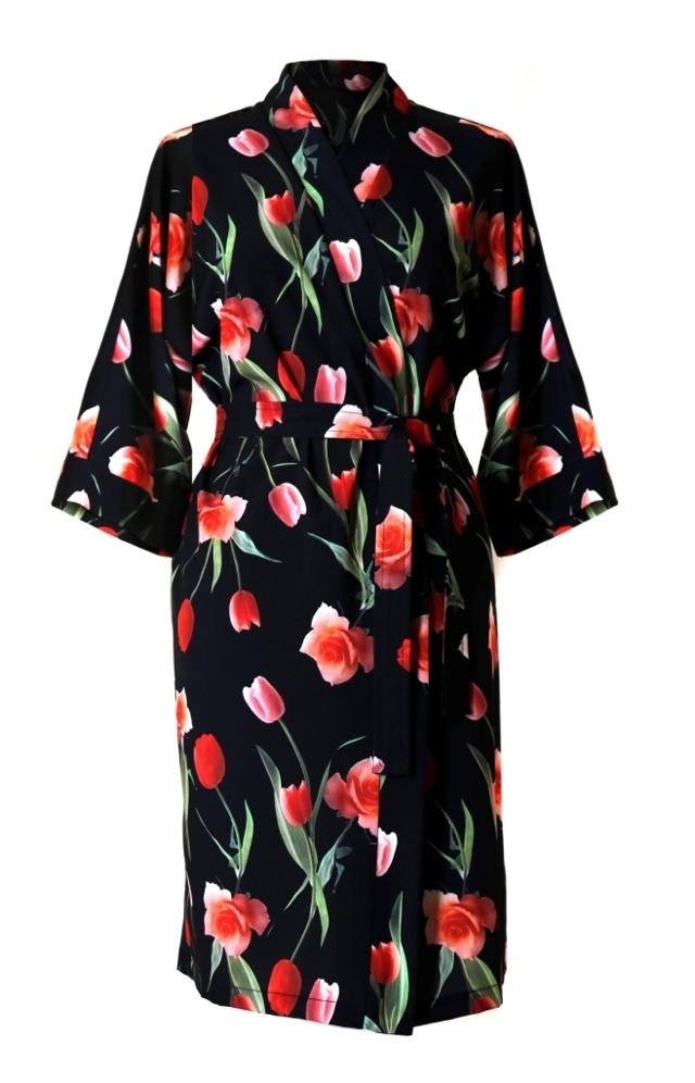 Dámský župan Betty 1554 9901 - Vestis - S - černá s květy