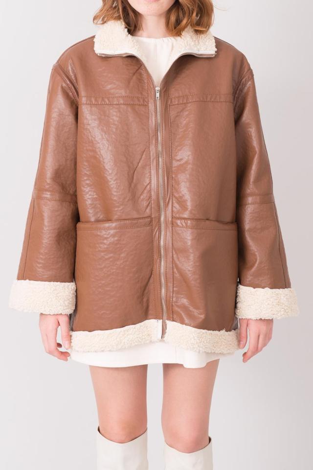 Dámský kabát z ovčí kůže BSL Brown - XS