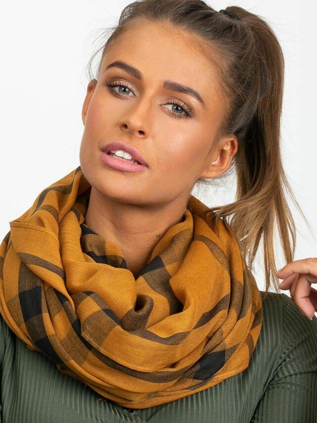 Světle hnědý kostkovaný šátek - ONE SIZE