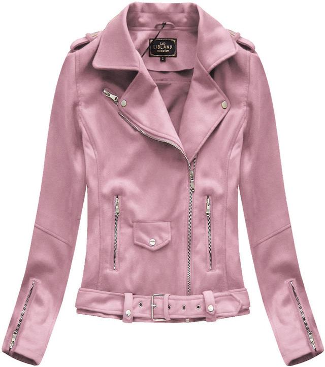 Růžová dámská bunda ramoneska se sponou (6006) - M (38) - růžová