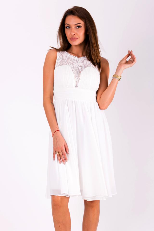 dc2ba1fbdf05 Bílé šaty EVA LOLA 51003-5 - M