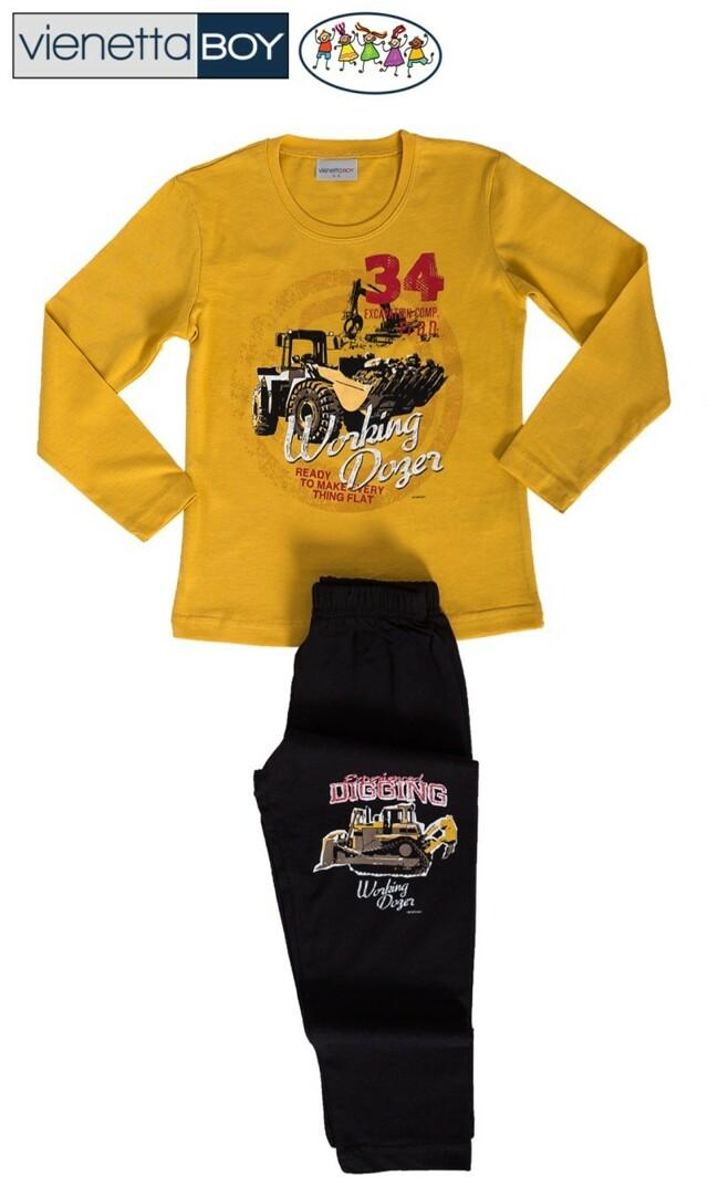 Dětské pyžamo dlouhé Traktorbagr - žlutá 7 - 8