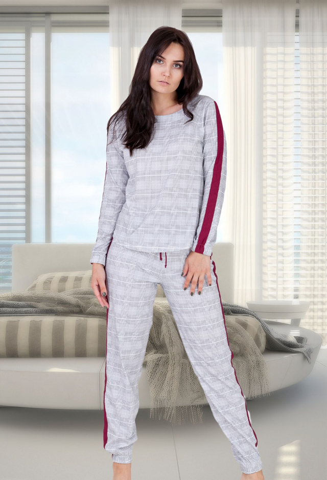 Dámské pyžamo M-Max Miranda 682 M-2XL dl/r - XL - šedá-bordó