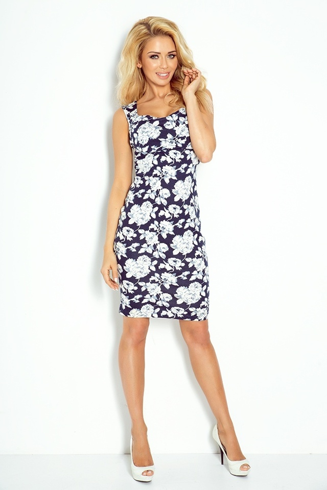 Dámské šaty 104-2 - Numoco - XL - tm. modrá-bílá