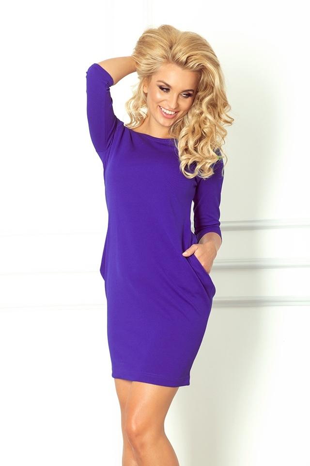 Modrofialové šaty s kapsami 40-8