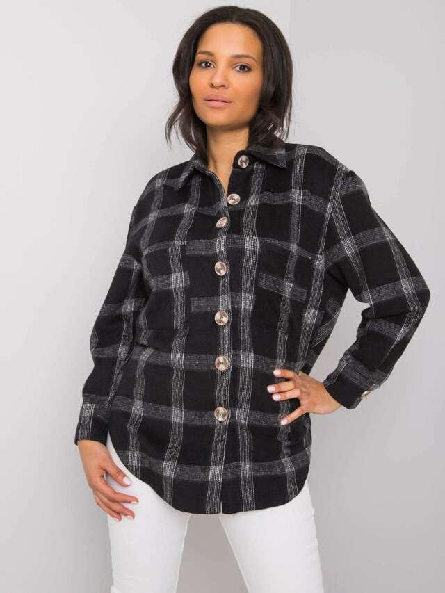 Černá kostkovaná košile - S