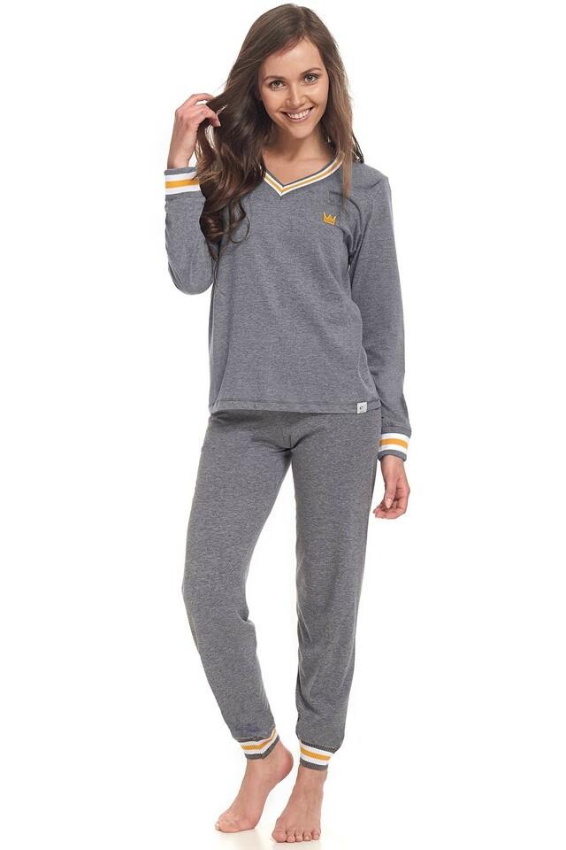 Dámské pyžamo Dn-nightwear PM.9340 - M - šedá-žlutá
