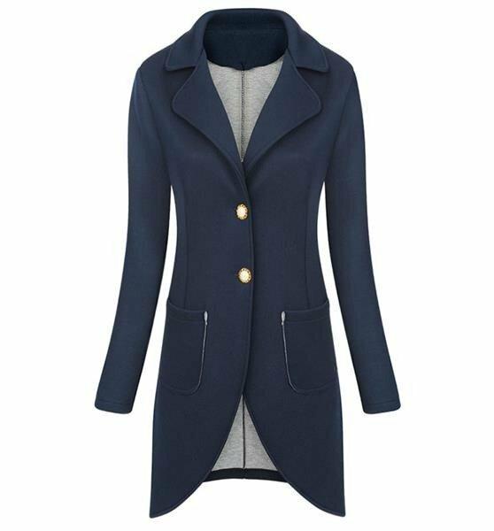 Tmavě modré sako/přehoz přes oblečení s koflíky (2603) - ONE SIZE - tmavěmodrá