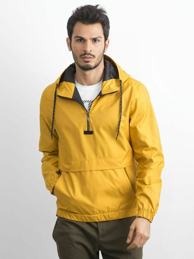 Pánská tmavě žlutá větrovka s kapucí - S