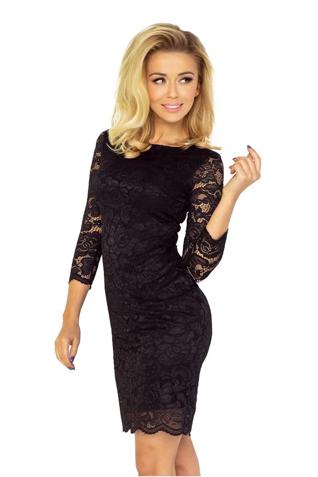 Černé krajkové šaty 145- - L