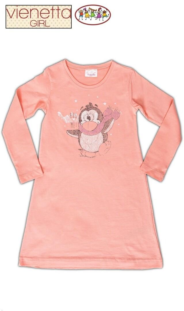 Dětská noční košile s dlouhým rukávem Tučňák - meruňková 11 - 12