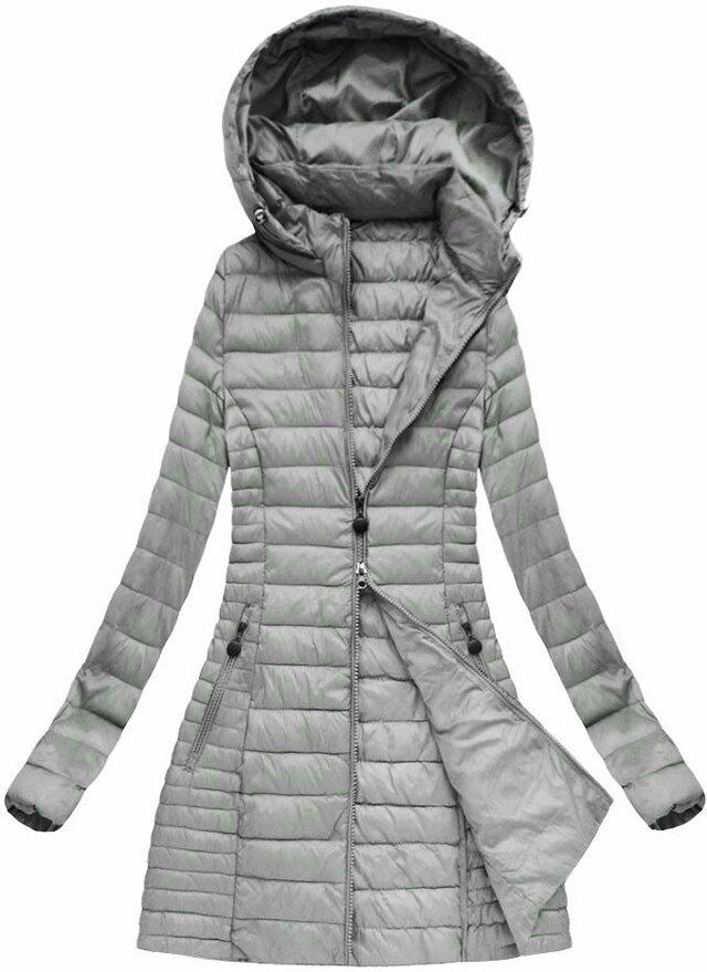 Šedá dámská jarní bunda s kapucí (XB7127X) - S (36) - šedá