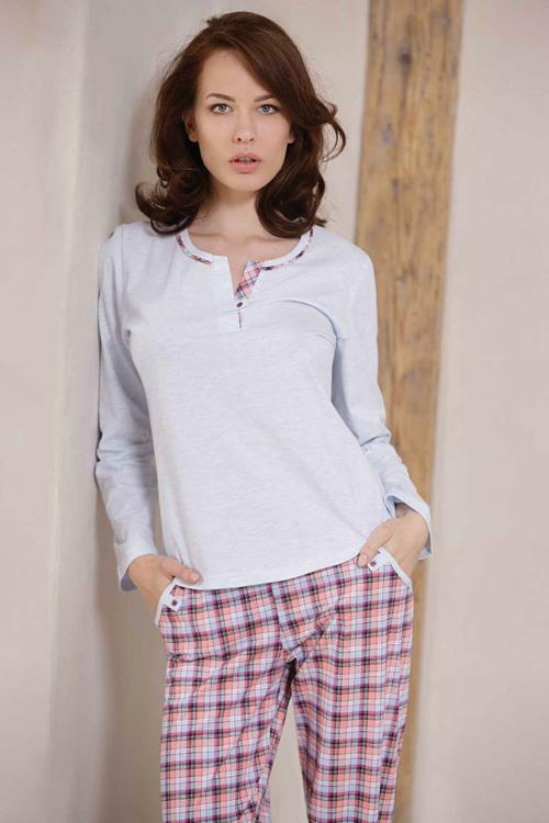 Dámské pyžamo Cana 327 XXL - XXL - světle modrá (melanž)