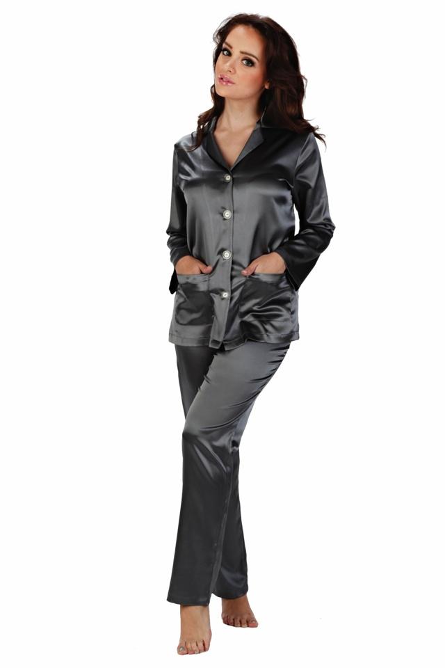 Dámské saténové pyžamo Classic dlouhé šedé - XL
