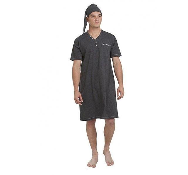Pánská noční košile Bonifacy 357 - M Max - XL - šedá