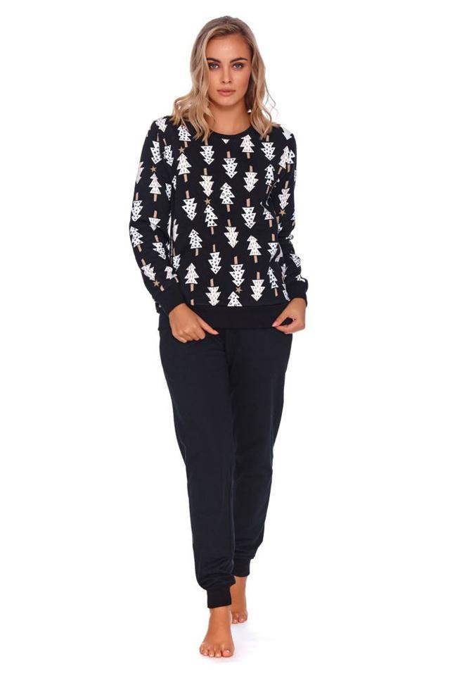 Dámské pyžamo Wendy černé se stromečky - S