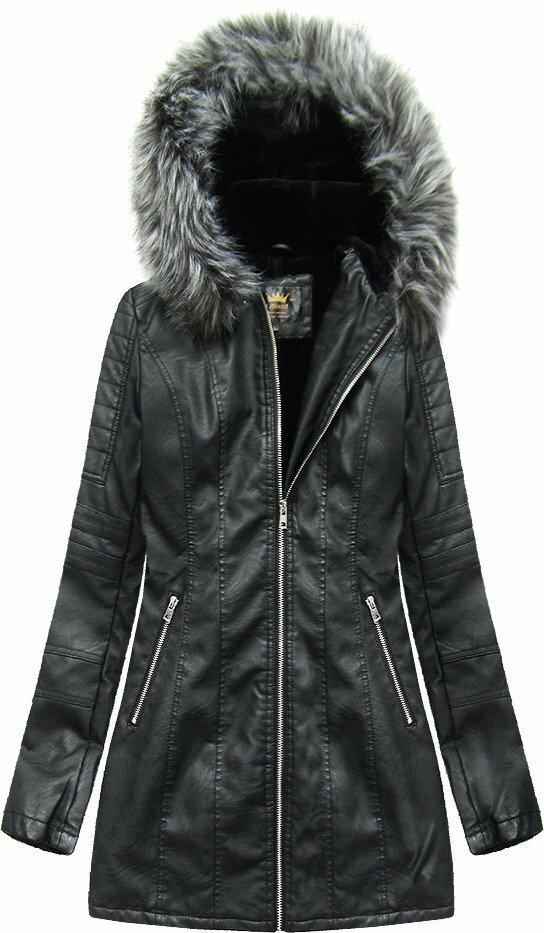 Černý kabátek z eko kůže s kapucí (5525) - S (36) - černá