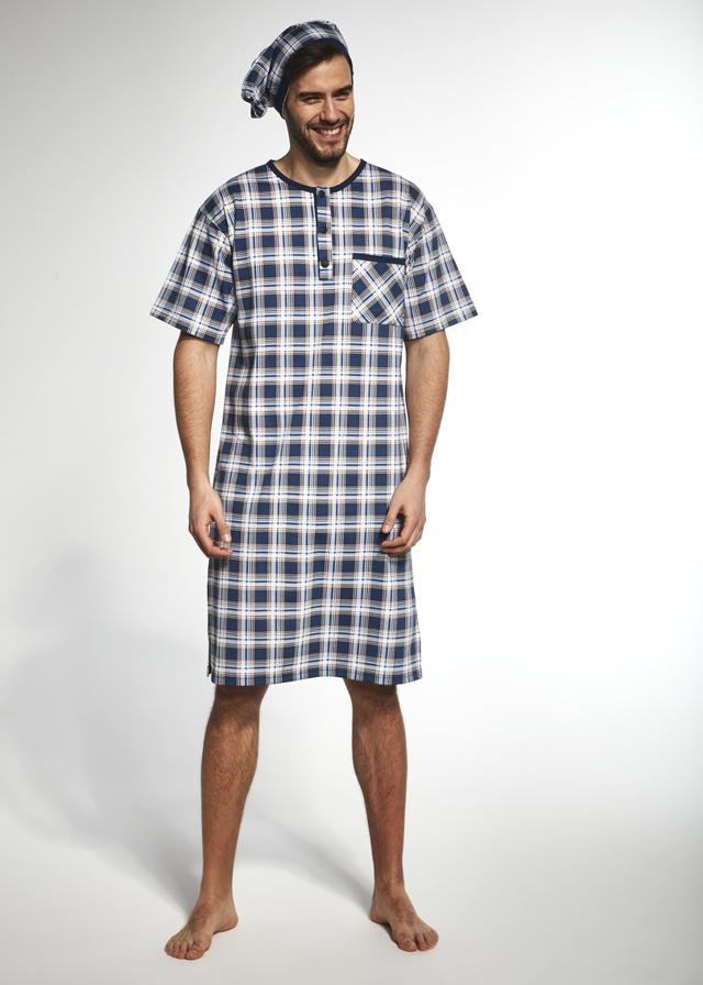 Pánská noční košile KR 109 - tyrkysová - 5XL