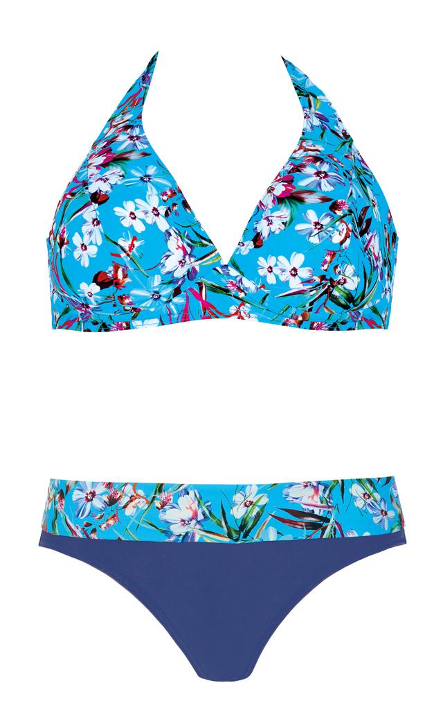 Dvoudílné dámské plavky Self S 115 PG19 - 42E-XL - modrá-modrofialová