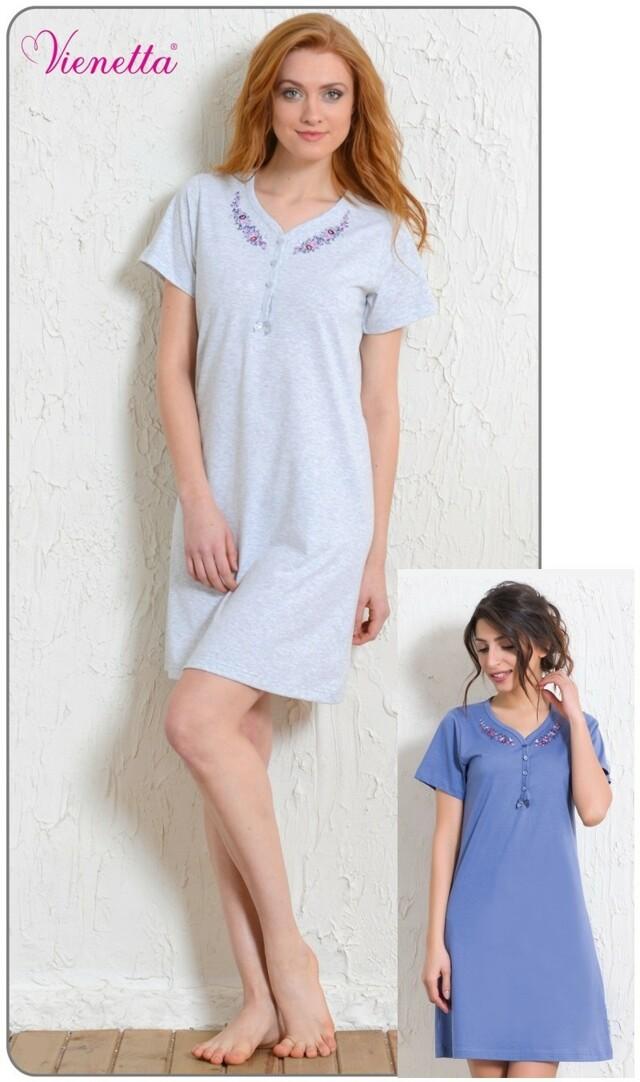Dámská noční košile s krátkým rukávem Karmen - světle šedá L