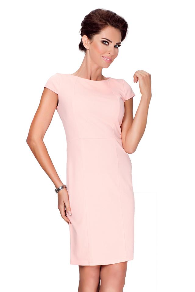 Broskvové elegantní šaty s krátkými rukávy 37-1