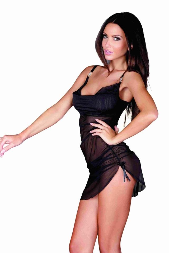 Erotická košilka 902 Amandine black - L - černá