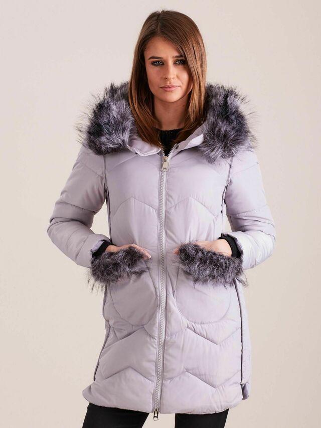 Dámská zimní bunda s kožešinou, šedá - S