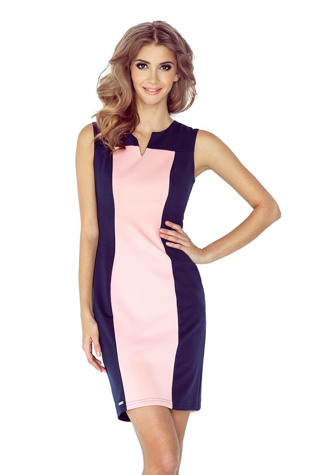 Dvojbarevné modro-růžové šaty MM 006-2 - M