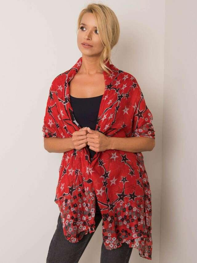 Červený květinový šátek - ONE SIZE
