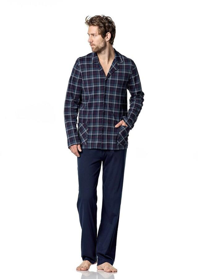 Pánské pyžamo 5041 - Vamp - XXL - modrá/ káro