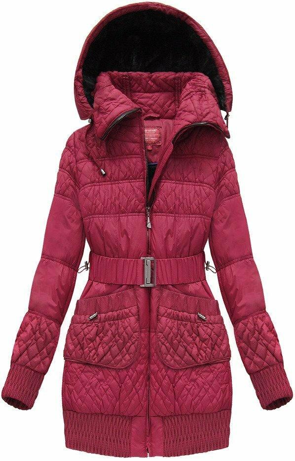 Bordó dámská zimní bunda s páskem (J6311W) - S (36) - bordó 9c8be626b6