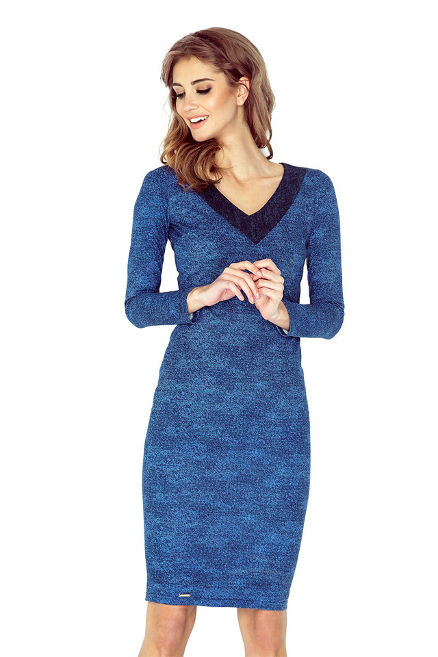 f9878030f66d Světle modré šaty s výstřihem do V MM 020-2 - L